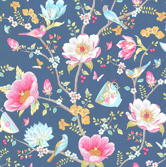 160724 Chinese Garden Dark Blue Wallpaper