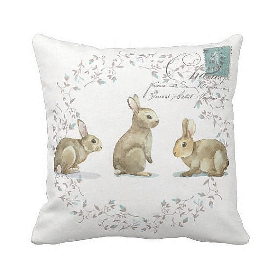 Bunny Pillow Cover by Jolie Marche