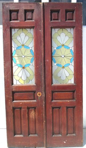Antique French Doors with Stained Glass