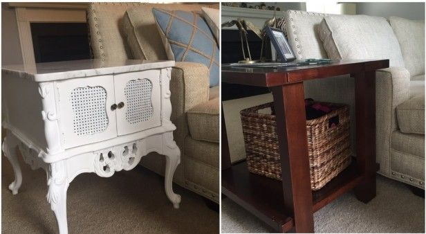 End Tables with Sofa - Before & After