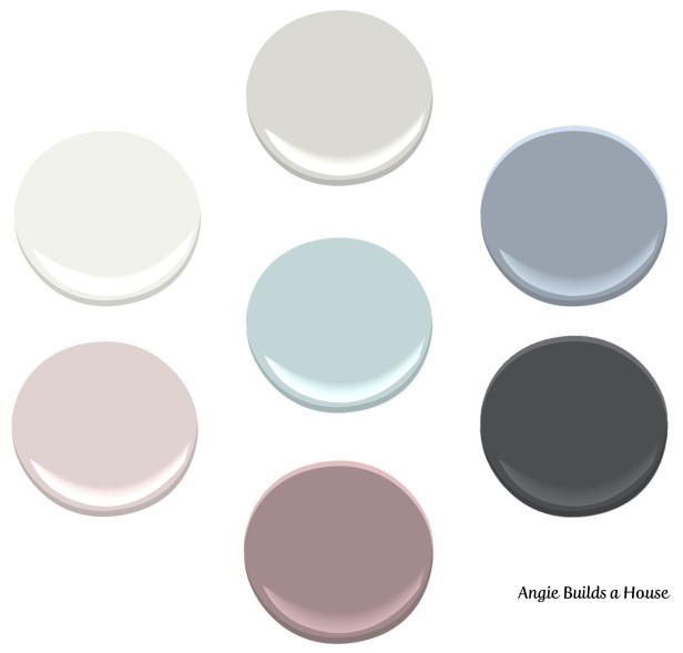 Interior Paint Color Palette (All Benjamin Moore Colors): Shoreline, Comet, Cheating Heart, Mulberry Wine, Organdy, Oxford White, Fantasy Blue | AngieBuildsAHouse.com