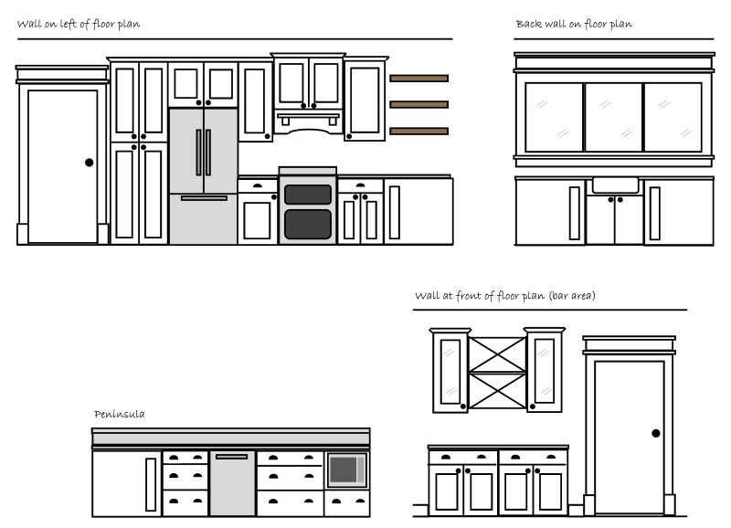 Kitchen Elevation drawn in Publisher - Rockford Cliq Studios | Angie Builds a House