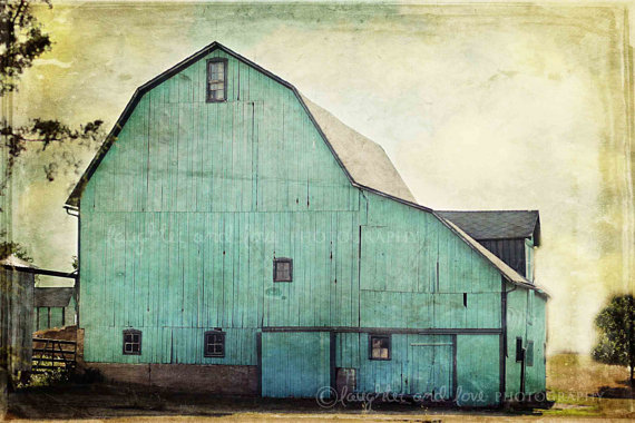 Teal Barn Print from Etsy - Exterior Inspiration | Angie Builds a House