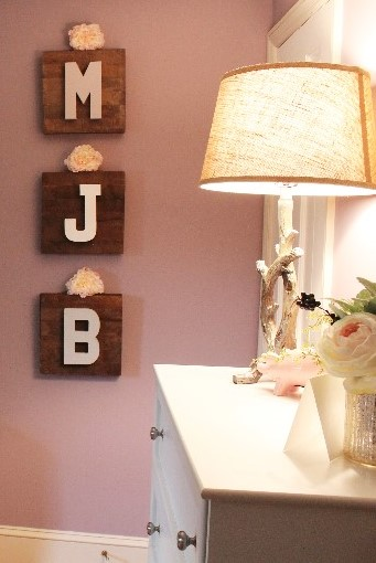 nursery design | girl's nursery | bunny theme nursery | purple nursery | woodland nursery | rustic glam | decal | ANGIEBUILDSAHOUSE.com