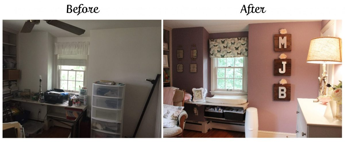 nursery before & after | nursery design | girl's nursery | bunny themed nursery | woodland nursery | nursery makeover | ANGIEBUILDSAHOUSE.com