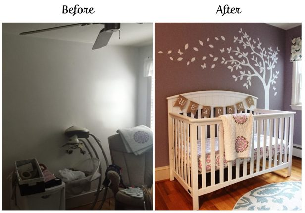 nursery before & after | nursery design | girl's nursery | bunny theme nursery | woodland nursery | ANGIEBUILDSAHOUSE.com