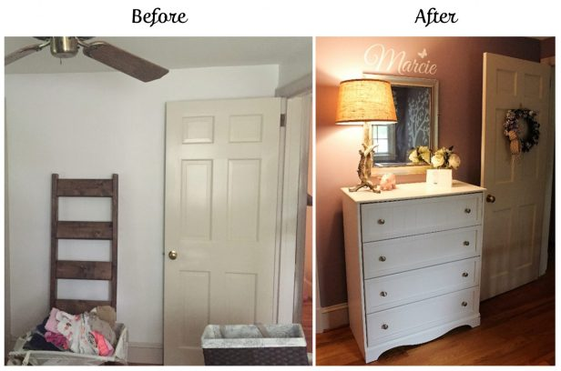 nursery before & after | nursery design | girl's nursery | bunny themed nursery | woodland nursery | ANGIEBUILDSAHOUSE.com