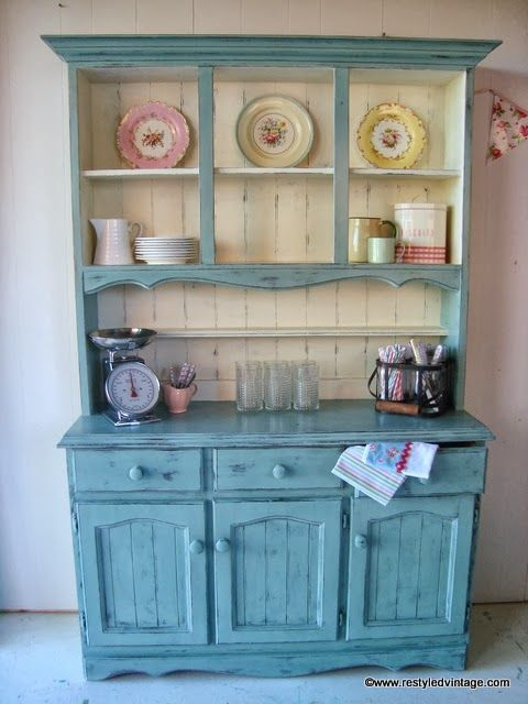 Vintage hutch makeover from Restyled Vintage | Angie Builds a House