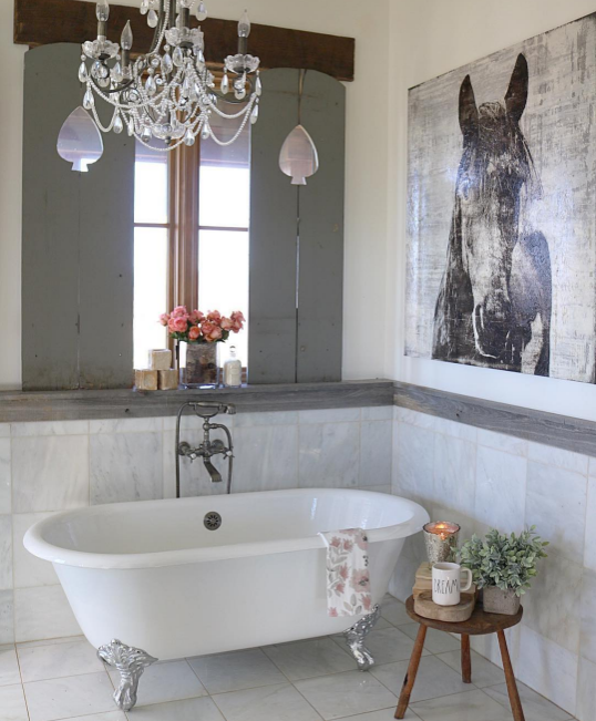 rustic glam bathroom from @birdie_farm | shared by Angie Builds a House