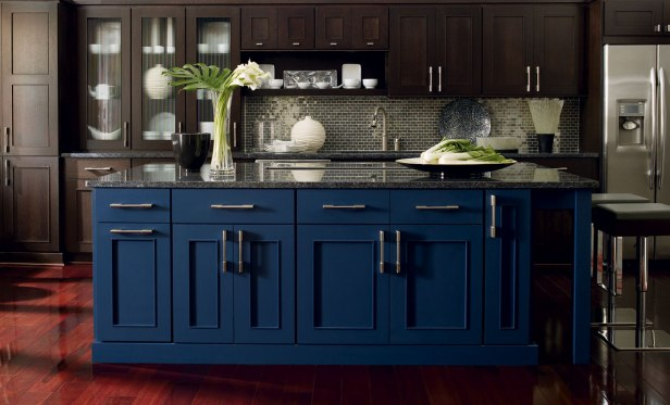 Blue Kitchen Island - Omega Cabinets