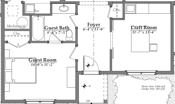 Floor Plan After - front rooms (guest bedroom, guest bathroom, craft room) | AngieBuildsAHouse.com