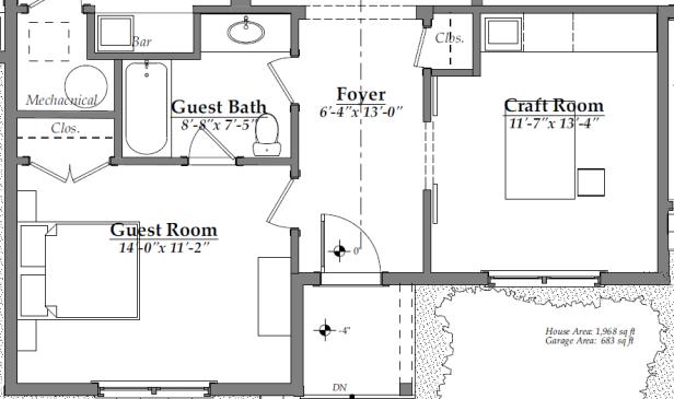 Floor Plan After - front rooms (guest bedroom, guest bathroom, craft room)   AngieBuildsAHouse.com