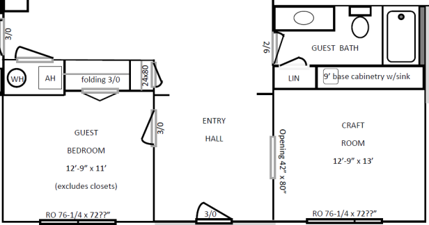 Floor Plan for the front rooms (guest bedroom, guest bathroom, craft room) | AngieBuildsAHouse.com
