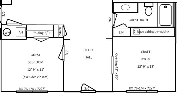 Floor Plan for the front rooms (guest bedroom, guest bathroom, craft room)   AngieBuildsAHouse.com