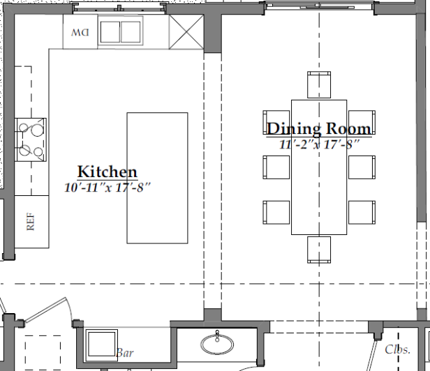Kitchen & Dining Room floor plan (after) | AngieBuildsAHouse.com