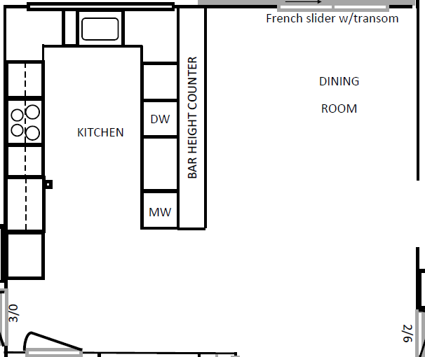 Kitchen & Dining Room floor plan before | AngieBuildsAHouse.com