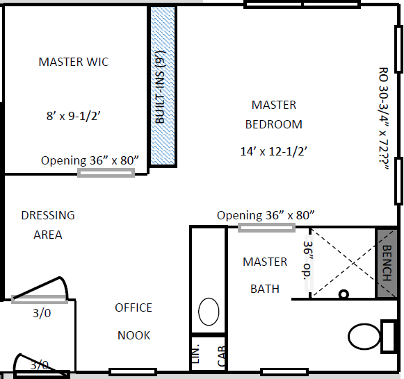 Master Suite Floor Plan (Before) | AngieBuildsAHouse.com