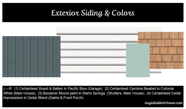 Vinyl Siding Choices & Colors: Certainteed Board & Batten in Pacific Blue, Carolina Beaded in Colonial White, Cedar Impressions Shingles in Cedar Blend, Benjamin Moore Warm Springs for shutters and porch door | AngieBuildsAHouse.com